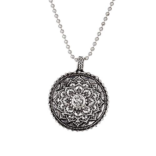 Charm Men Necklace Flower Lotus Pendant Necklace for Women Geometry Amulet Vintage Religious Buddhism Jewelry,Round Metal