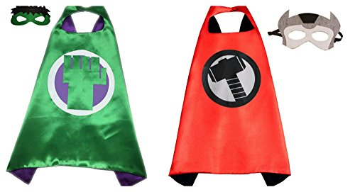 Athena Dress Up Hulk & Thor 2 Capes, and 2 Masks Gift Box Included (Avengers 2 Boys Thor Costume)