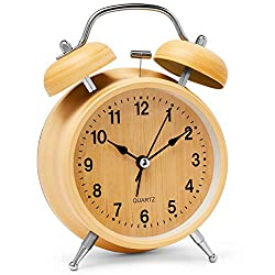 Bernhard Products Analog Alarm Clock 4 Twin Bell Silent Non-Ticking Quartz Battery Operated Extra Loud with Backlight for Bedside Desk, Metal (Wooden Color)