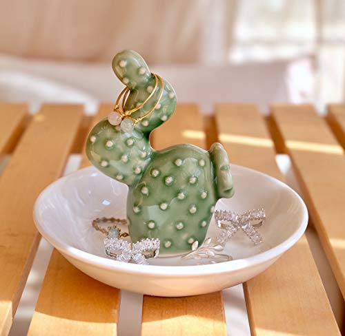 PUDDING CABIN Cactus Ring Holder Dish for Jewelry Ring Tray Christmas Birthday Gift ()