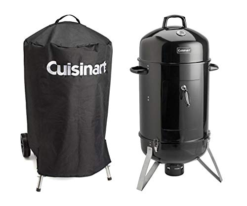 Cuisinart Vertical Charcoal Smoker with Stainless Steel Cooking Racks and Porcelain-enameled Water Bowl, 18-Inch Bundle with Universal Nylon Fabric Kettle Cover with Velcro Straps