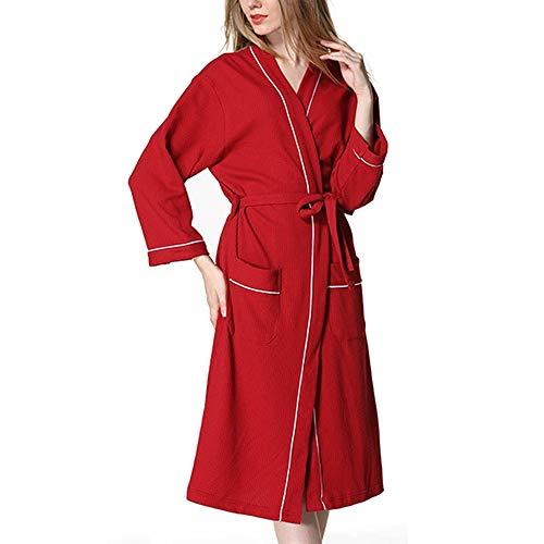 Xl Plus Red In Size Spa Per Mallty Donna Leggero Accappatoio color Lungo Cotone Pink 7ORYqU0