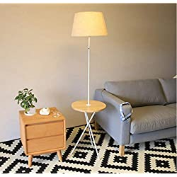 Nordic Wooden Living Room Sofa Clock LED Floor Lamp - Modern, Vertical and Modern Fabric Lampshade Table Lamp and Floor Lamp Combination - Office High Pole Lamp, Bedroom - LED Bulb Included,White