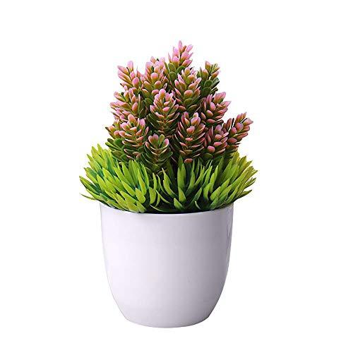 Haihuic Pequeñas Plantas Artificiales Faux Pine Needle Plantas en Maceta Hierba Verde de plástico Falso Mini arbustos del...