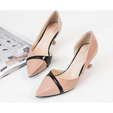 LvYuan Mujer Sandalias Confort PU Verano Casual Paseo Confort Combinación Tacón Stiletto Negro Beige Rosa 7'5 - 9'5 cms Black