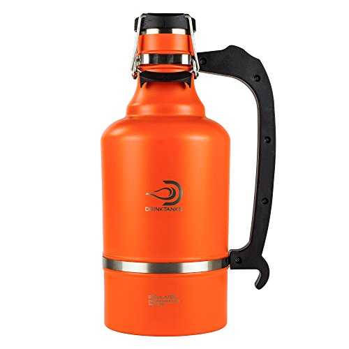 DrinkTanks Vacuum Insulated Stainless Steel Beer Growler, 128 oz.