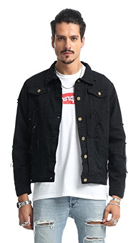 Pizoff Mens Hipster Long Sleeve Ripped Raw Edges Back Print Button Down Denim Cotton Jacket With Pockets - Vesace Ring