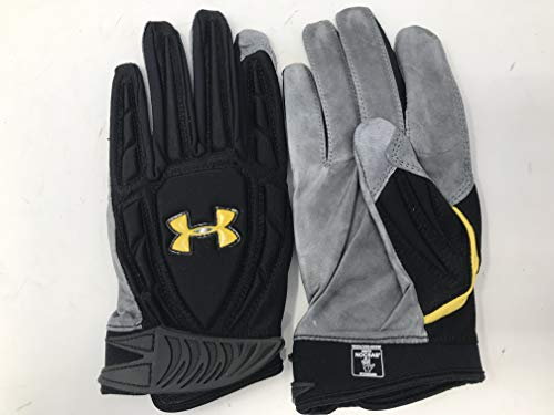 Under Armour Combat II Half Finger Leather Adult Lineman Gloves (Black/Red/Taxi, XXL)