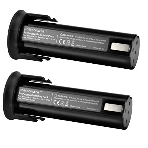 Powerextra Twin Pack Milwaukee Brand New 2.4v 2000mAh NiCd Backup Battery for 48-11-0100 6550-20