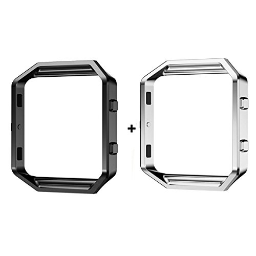 - 2PCS Fitbit Blaze Frame, Sailfar Stainless Steel Replacement Protection Metal Frame/Housing/Shell/Holder/Bezel for Fitbit Blaze Smart Watch (Silver + Black)