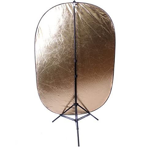 CowboyStudio 24 x 36 Inches 5-In-1 Collapsible Reflector Disc Kit with Stand and Silver/Gold/Black/White/Diffuser Photo - Reflector Kit