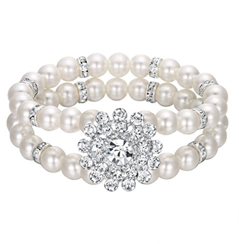 EVER FAITH Women's Crystal Simulated Pearl 2 Strand Row Bridal Floral Stretch Bracelet Clear -
