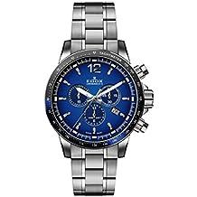 Edox Men's Chronorally S 44mm Steel Bracelet & Case Swiss Quartz Blue Dial Analog Watch 10229 3NBUM BUIN