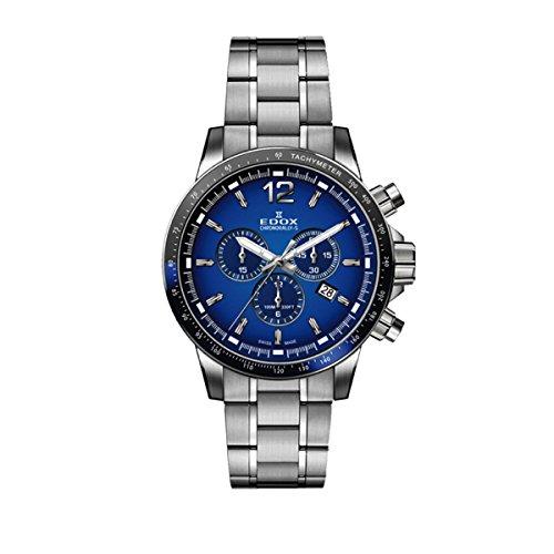 Edox Reloj Cronógrafo para Hombre de Cuarzo con Correa en Acero Inoxidable 10229-3NBUM-BUIN: Amazon.es: Relojes