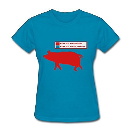 Style Personality Women The Bacon Pig Pork Bbq Painting Small T-shirt ()