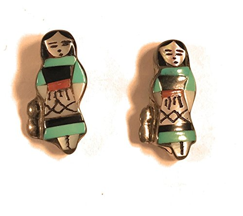 Vintage Zuni Maiden Doll Sterling Multi Stone Inlay Post Earrings Signed