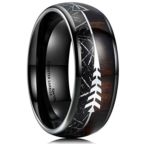 King Will Nature 8mm Real Wood Inlay Tungsten Carbide Wedding Ring Imitated Meteorite Dome Style 10.5