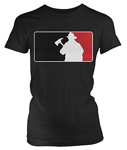 Junior Firefighter Badge (Amdesco Junior's Firefighter Silhouette Emblem, Fire Fighter T-shirt, Black 2XL)