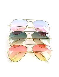 CLYH Unisex Metal Frame Frog Mirror Trendy Gradient Sunglasses Eyewear Eyeglasses