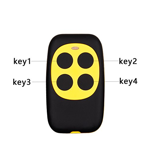 XIHADA 4-Button Universal Gate and Garage Door Fixed Code and Rolling Code Garage Door Remote Control/Remote Keyless Key Multi Frequency 280MHZ-350MHZ/380MHZ-450MHZ/867MHZ-868MHZ (Yellow)