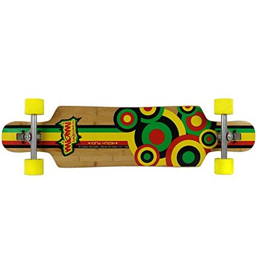 Caliber Skate (Miami Longboard Bamboo/Fiberglass Rasta Circles Caliber/Method Complete Skateboard, 9.4