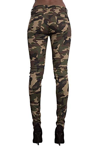 Super Mimetici Gamba Camouflage Colour Jeans Dritta Anni Skinny Donna Elodiey Pantaloni Army 20 Stretch q18xg8Bw