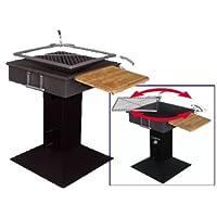 Grillstation schwarz XXL Basis Garten ✔ Seitentisch rechts ✔ eckig ✔ stehend grillen ✔ Grillen mit Holzkohle ✔ mit Station