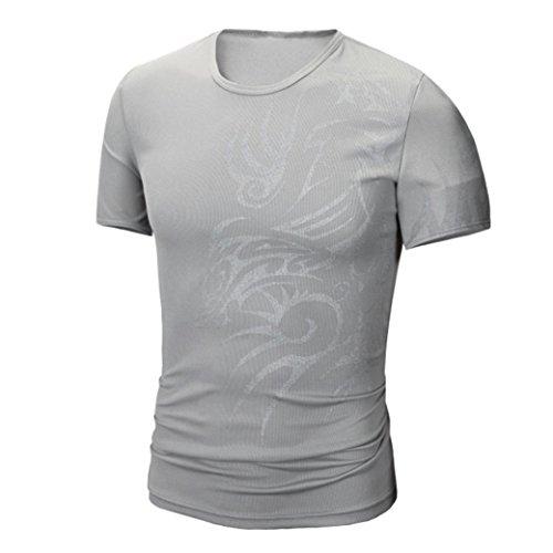 - iLXHD Men Summer Fashion Printing Men's Short-Sleeved T-Shirt(Gray,L)