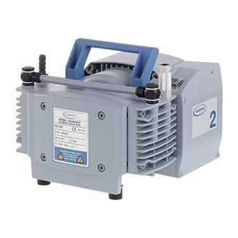 "BrandTech 732000 PTFE MZ2 NT Diaphragm Vacuum Pump with CEE Plug, 230V Power Supply, 1.30cfm Pumping Speed, 9.41"" Width x 7.80"" Height x 9.57"" Depth"
