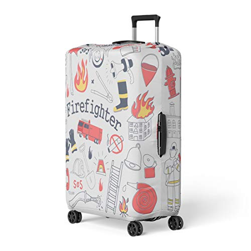(Pinbeam Luggage Cover Red Firefighter Freehand Doodle Fireman Extinguisher and Equipment Travel Suitcase Cover Protector Baggage Case Fits 26-28)