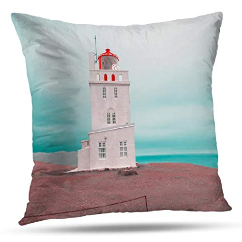Kutita Lighthouse Tower Pillow Cover, Decorative Pillow Covers South Coast Architecture Beach Blue Building Throw Pillow Case Cushion for Sofa Living Room 20X20 Inch ()