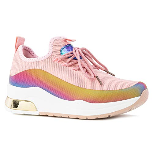 RF ROOM OF FASHION Women's Dad Sneakers Lace-up Chunky Platform Shoes Pink Size.10 ()
