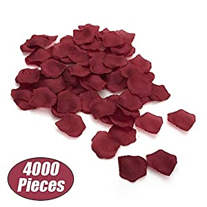 Aspire 4000 Pieces Silk Rose Petals, Artificial Flower Confetti for Wedding Party Gift Decoration-Burgundy 1