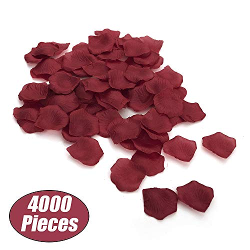 - Aspire 4000 Pieces Silk Rose Petals, Artificial Flower Confetti for Wedding Party Gift Decoration-Burgundy
