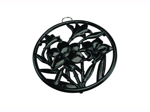 Apollo Housewares 9279 Cast Iron Trivet Rnd Flowers Black