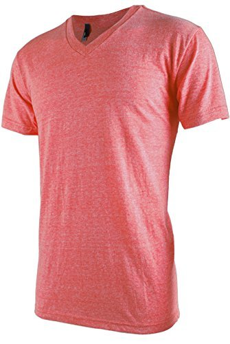 TL Men Casual Basic Short Sleeve Tri-Blend / 100% Cotton V-Neck T Shirt L (Red Brush Cotton Hat)