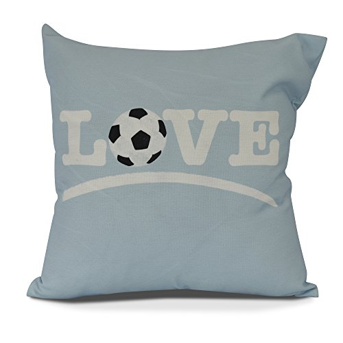 E by design Love Soccer Light Decorative Word Throw Outdoor Pillow, 16'', Blue by E by design