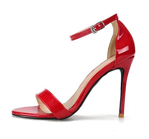 Zpl Estate Pelle Open Cinghia Toe Stiletto Festa Sandali Pompe Vestito Tacco Red Donna Caviglia r1rwxZqf