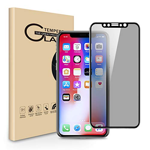 Privacy Screen Protector for iPhone XS iPhone X, [1-Pack] Full Coverage Anti-Spy Anti-Scratch Tempered Glass Film Shield for Apple iPhone XS/ X 5.8 inches (black)