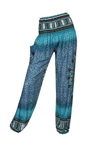Pantalones harén–ALADDIN pantalones de Hippie con 18Diferentes diseños Bubbles Teal