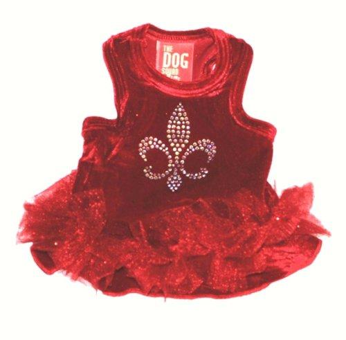 The Dog Squad Velvet Fleur De Lis Tutu Pet Dress, X-Large, Red