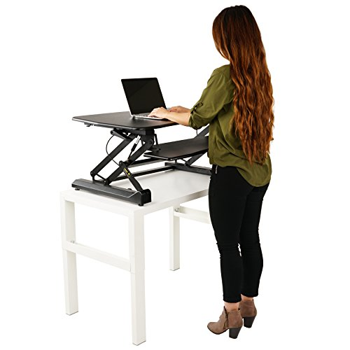ZooVaa Standing Desk Riser, Micro Adjustable Spring Height Sit to Stand Riser Tabletop Laptop Standing Desk Workstation 2 Tier fits Dual Monitor for Office - 10-OFD-001B Double Riser Grip Stand