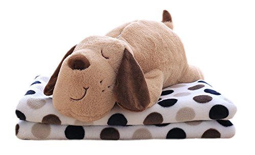 Lovely Cartoon Plush Stuffed Animal Toys Super Soft Warm Plush Throw Pillow Folded Fleece Blankets Comforter Travel Blanket Quilt 2 in 1 (35