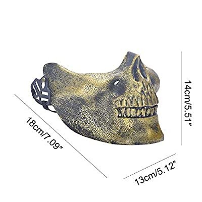 Skull Half Mask, Skeleton Skull Half Face Mask for Halloween, Costume Party, Masquerade, Paintball, BB Gun(Gold): Clothing
