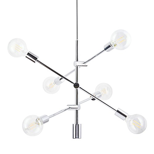 Marabella Pendant Light with LED Edison Bulbs Included. Polished Chrome Contemporary Stem Hung Chandelier Fixture with Adjustable Hanging Height. UL Listed, Linea di Liara LL-P235-PC