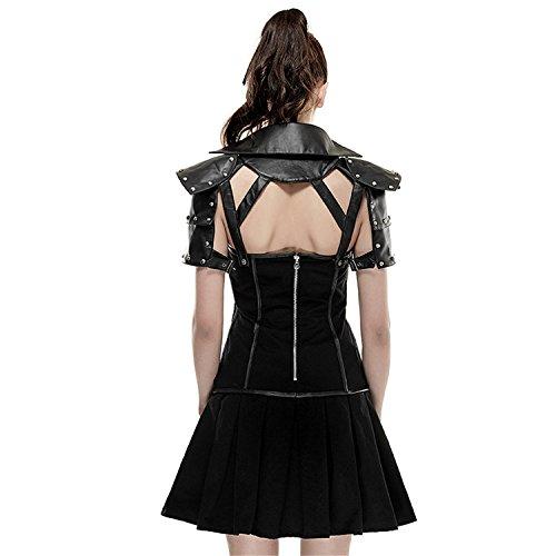 Vestito da cotone a maniche corte gotiche da donna, abito a pelo ginocchio-lunghezza, gonna nera corta, L
