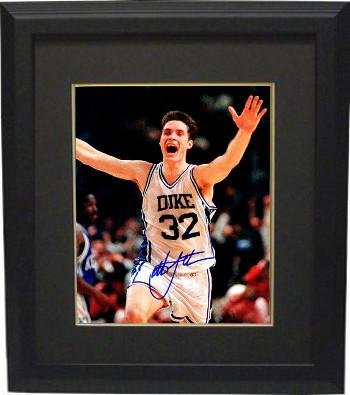 Signed Christian Laettner Picture - Arms Up Celebration 8x10 Custom Framed 1992 Game Winner vs Kentucky