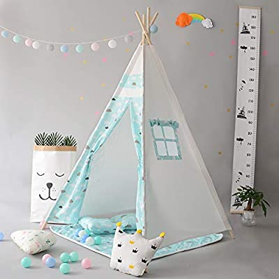 DalosDream Gaint Kids Teepee Play Tent with Matress -100% Natural Canvas Children Play Tent: Toys & Games