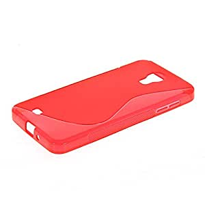 Domettch [S-Wave] Carcasa de silicona Gel TPU Funda Caso Tapa Case para Case para Samsung Galaxy J N075T Rojo
