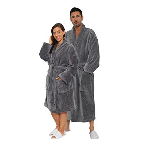 Terry Velour Shawl Collar Robe - TowelRobes Velour Shawl Collar Hotel Robe 100% Cotton Terry Cloth Cool Grey XX Large